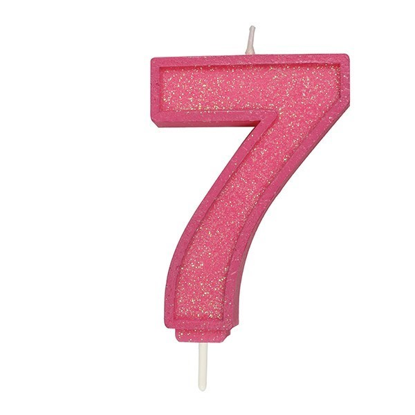 Pink Sparkle Numeral Candle