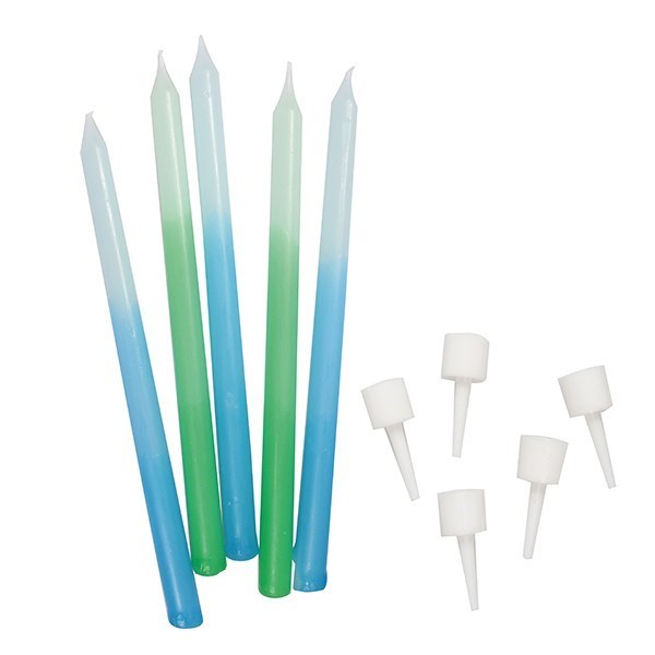 Blue/Green Ombre Candles - Pack of 12 - 100mm