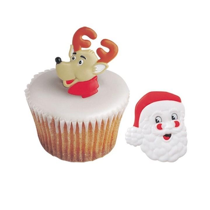 Edible Reindeer Cake Decoration : Reindeer and Santa Rings - Boxed 144 Culpitt