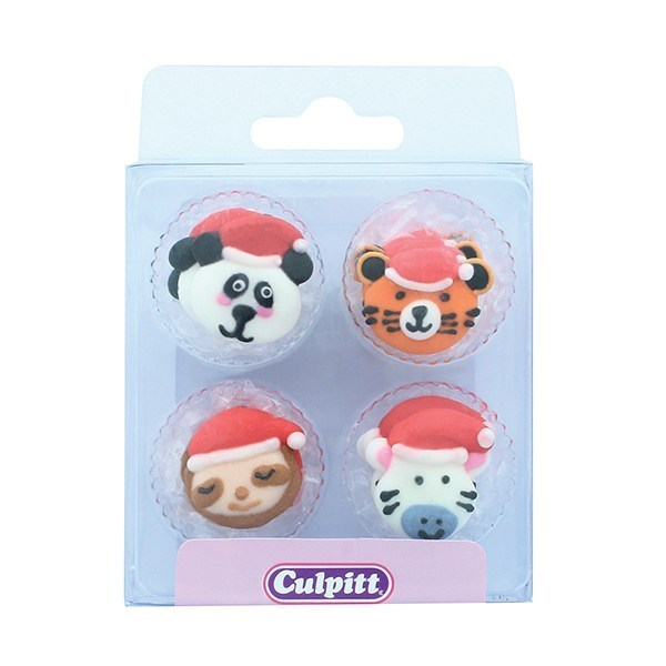 Culpitt Sugar Decorations - 12 Wild Animals with Santa Hats - Retail Packed