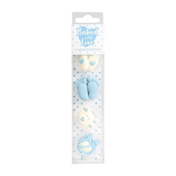 Baked with Love Baby Boy Cupcake Decorations - single