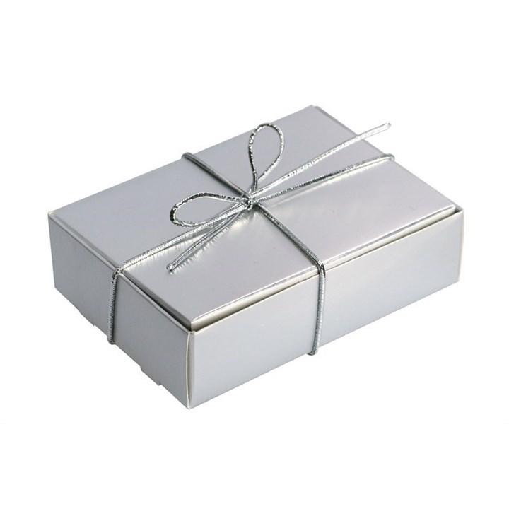 Silver With Silver Elastic Ribbon Wedding Cake Box Culpitt