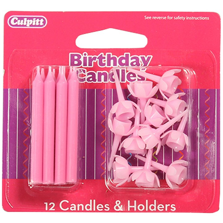 Pink Candles and Holders - single