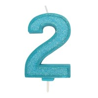Blue Sparkle Numeral Candle