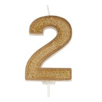 Gold Sparkle Numeral Candle