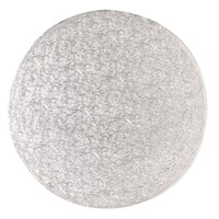 10'' (254mm) Cake Board Round Silver Fern (individually wrapped)